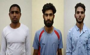 (Left to right) Mohammed Idriss Shah alias Nadeem, Yusuf Rafiq Bhatt and Zahid Gulzar were arrested on Wednesday/