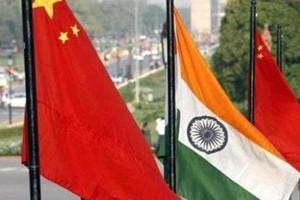 Flags of China and India on Rajpath in New Delhi.