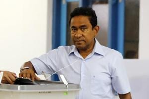 A file photo of Maldivian President Yameen Abdul Gayoom casting his vote at a polling station in Male, Maldives.