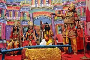 Artistes perform Ramlila at Wagale estate in Thane.