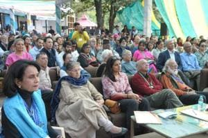 Geetanjli (extreme left), Rani Balbir Kaur, Gurcharan Dass and Rahul Singh during a session at the Khushwant Singh Literature Festival in Kasauli on Saturday.