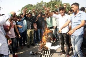 Students burning effigy of vice-chancellor Bijender Punia on the campus on Saturday.