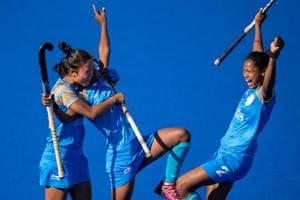 Indian players celebrate after scoring in the Hockey5s Women