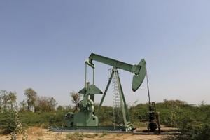 An ONGC well is pictured in an oil field on the outskirts of Ahmedabad.