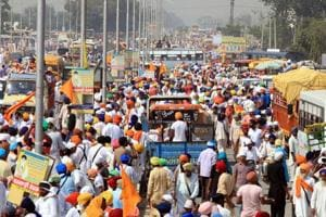 Heavy rush on the Kotkapura-Bathinda road on the third anniversary of the deaths of two Sikh youths in Behbal Kalan firing, on Sunday. People converged in large numbers even as police had sealed the entry points to Kotkapura.