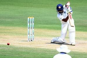 Indian cricketer Prithvi Shaw plays a shot during the second day
