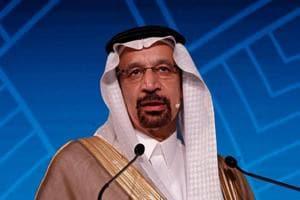 Saudi Energy Minister Khalid al-Falih addresses the gathering during India Energy Forum in New Delhi on October 15, 2018.