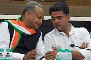 Former Rajasthan CMAshok Gehlot and state Congress president Sachin Pilot  at a party meeting in Jaipur on October 14, 2018.