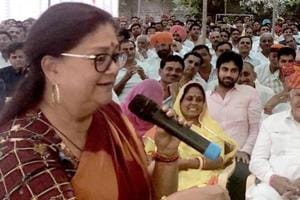Rajasthan chief minsiter Vasundhara Raje speaks at a meeting with the party workers in Ranakpur, Pali, on Sunday, October 14, 2018.