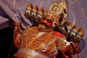 An artist dressed as the demon king Ravana performs during Ramlila.  Dussehra this year is on October 19.