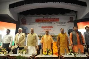 CM Yogi Adityanath(centre), health education minister Ashtosh Tandon(2nd from left) and PGI director Rakesh Kapoor(extreme left) during the foundation stone laying ceremony at SGPGI.