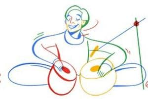 The Google doodle designed in tribute of tabla player Lachhu Maharaj.