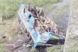 A Kolkata-bound bus plunged into a shallow canal in Hoogly district on Tuesday morning, killing five people.