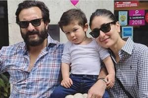 Saif Ali Khan, Kareena Kapoor Khan and Taimur on Saif-Kareena's wedding anniversary.