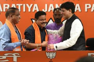 Two Goa Congress MLA - Subhash Shirodkar (left ) and  Dayanad Sobte (centre) joined the BJP in presence of union minister Piyush Goyal at the BJP headquarter in New Delhi on Tuesday