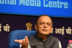 Arun Jaitley gestures during a press conference.