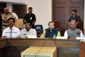 Union human resource development (HRD) minister Prakash Javadekar (second from right) during the DPDC meeting at Council hall in Pune on Monday.