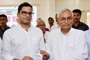 Bihar chief minister and Janta Dal United JD(U) national president Nitish Kumar with electoral strategist Prashant Kishor after he joined JD(U) during party