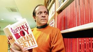 Novelist and poet Vikram Seth with his sprawling novel whose heart is the story of a young girl, Lata, and her three suitors.