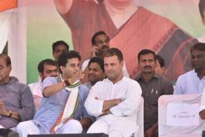 Congress President Rahul Gandhi with congress leader Jyotiraditya Scindia during a public meeting in Jaura in Morena District on October 16, 2018.
