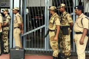 CISF jawans at Kashmere Gate metro station in New Delhi.