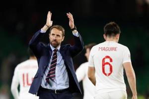England manager Gareth Southgate applauds the fans after the match on Monday.