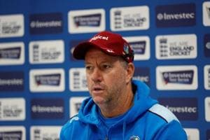 File image of West Indies coach Stuart Law during a press conference.