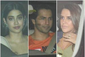 Janhvi Kapoor, Varun Dhawan and Neha Dhupia spotted on their way to Karan Johar's Kuch Kuch Hota Hai after party.