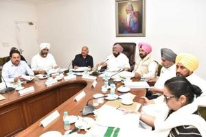 Punjab chief minister Captain Amarinder Singh presiding over a cabinet meeting at the CMO on Wednesday