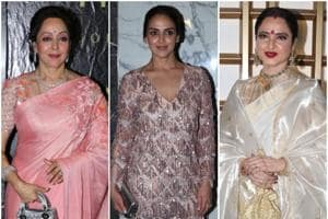 Beautiful ladies Hema Malini, Esha Deol and Rekha at the actor and BJP MP's birthday celebrations.