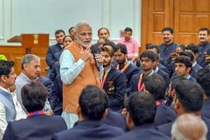 New Delhi: Prime Minister, Narendra Modi interacting with the medal winners of the 2018 Asian Para Games, in New Delhi on October 16, 2018