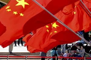Chinese national flags in Beijing on October 1.