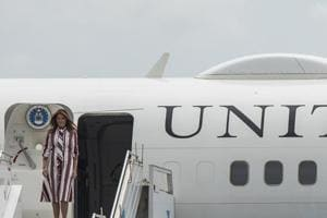 US First Lady Melania Trump disembarks from her plane after landing at Kotoka International Airport in Accra October 2, 2018.