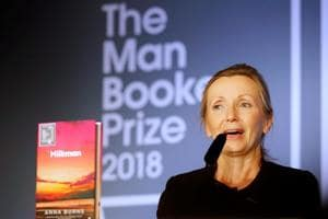 Writer Anna Burns delivers a speech after she was presented with the Man Booker Prize for Fiction 2018 by Britain