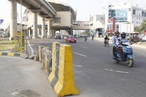 Jersey barriers found at AIT Chowk, one of the three major points on the 8 km Golf Course Road, in Gurugram.