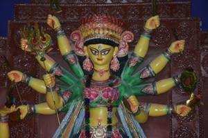 Idol of Goddess Durga at DAV Purana Bazar Ground in Dhanbad. Maha Navami falls on October 18 this year.