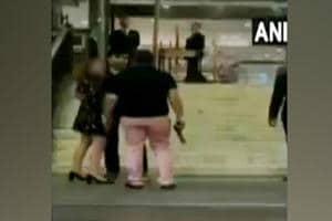 Former BSP MP's son Ashish Pandey is seen brandishing a gun outside Hyatt Regency hotel in South Delhi in a video that has gone viral on social media.
