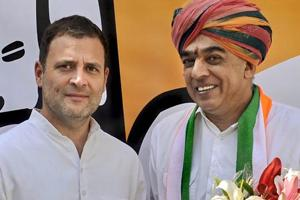 Rahul Gandhi with BJP MLA Manvendra Singh who joined the Congress in New Delhi, Wednesday, Oct 17, 2018.