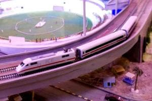 A model showing the proposed bullet train in New Delhi.
