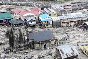 A view of devastated Kedarpuri township in the vicinity of Kedarnath shrine after the 2013 disaster.