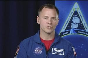 NASA astronaut Nick Hague, who survived the Oct. 11, 2018, failed launch and emergency landing, speaks on Tuesday from the NASA Johnson Space Center in Houston. Hague and Russian Alexei Ovchinin were two minutes into their flight last Thursday from Kazakhstan to the International Space Station when the Soyuz rocket failed.