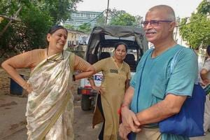 Human rights advocate Sudha Bharadwaj  (left) after she was arrested by the Pune police in connection with the Bhima Koregaon violence, in Faridabad on August 28, 2018.