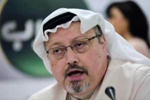 In this file photo, Saudi journalist Jamal Khashoggi speaks during a press conference in Manama, Bahrain.
