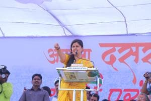 BJP's rural development minister Pankaja Munde at the show of strength Dussehra rally at Savargaon in Beed district on Thursday. She was flanked by nearly 16 sitting BJP legislators from Marathwada region and neighbouring areas.