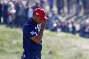 FILE PHOTO: Woods lost all four of his Ryder Cup matches in Paris last month