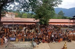 Devotees waiting for gates of the Lord Ayyappa Temple to open in Sabarimala, on October 17, 2018.