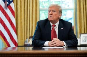 US President Donald Trump speaks in the Oval Office of the White House in Washington, October 17, 2018.
