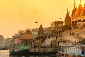 Scenic view from the banks of River Ganga on the ghat in Varanasi.