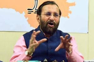 Union HRD minister Prakash Javdekar at the BJP office in Jaipur, October 17, 2018.  He is the party's election in-charge for Rajasthan which goes to poll on December 7.