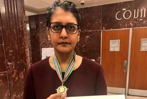 Minal Patel Davis, special advisor on human trafficking to Houston mayor Sylvester Turner, received the 'Presidential Medal for Combating Human Trafficking' in the White House last week.